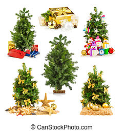 Christmas tree with gifts, set
