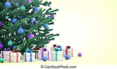 Christmas tree with gifts, falling snow