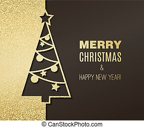 Christmas tree with glitter effect - Vector Christmas tree ...