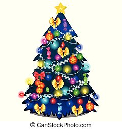 Christmas tree with glowing garland, glass baubles isolated on white background. Sample of poster, party holiday invitation, festive card. Vector cartoon close-up illustration.