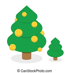 Christmas tree with gold balls. Decorated Holiday tree with Christmas toys. Set of trees: tree with decorations and simple green tree. Attribute for winter holiday: Christmas and new year