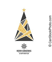 Christmas tree with gold ornaments and xmas snowflake on white background