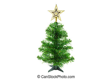 Christmas Tree with Gold Star on White Background