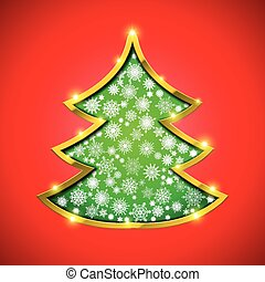 Christmas tree with golden border, snowflakes and sparkles -...