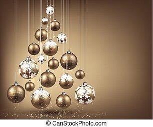 Christmas tree with golden christmas balls.