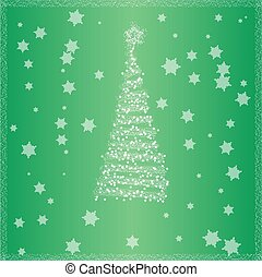 Christmas tree with green background