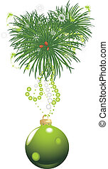 Christmas tree with green ball and tinsel isolated on the...