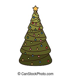 christmas tree with hanging balls isolated icon