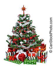 Christmas tree with heap of festive gift boxes decorated ...
