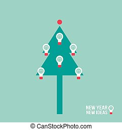 Christmas tree with light bulb. Successful business every year concept