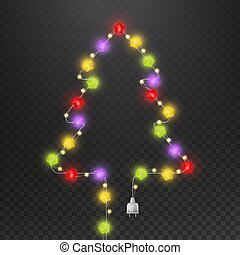 Christmas tree with light garland. Fir-tree shape with multicolor glowing star light bulb vector isolated mockup