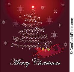 Christmas tree with lights and sledge