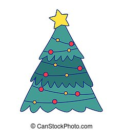 christmas tree with lights and star
