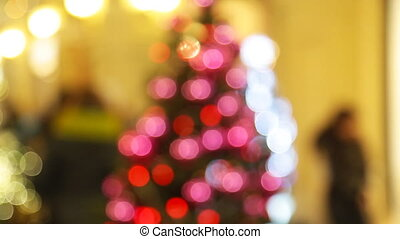 Christmas tree with lights glowing