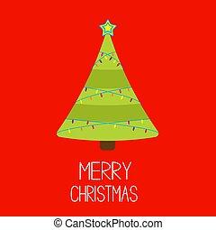 Christmas tree with lights. Merry Christmas card.