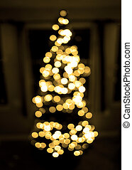 Christmas Tree with Lights Out of Focus Background