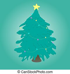 Christmas tree with lights. Vector illustration.
