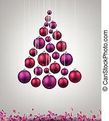 Christmas tree with magenta christmas balls. Vector...