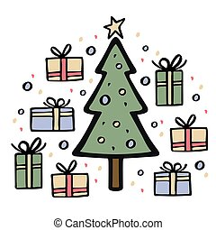 Christmas tree with many gifts around. Hand drawn vector illustration.