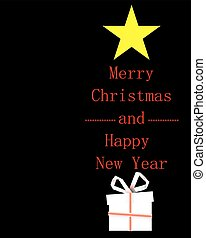 Christmas tree with Merry Christmas and Happy New Year