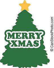 Christmas tree with merry xmas