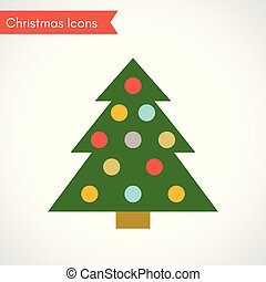 Christmas tree with multicolored balls