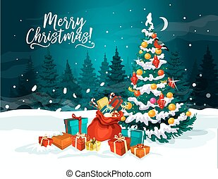 Christmas tree with New Year gift greeting card