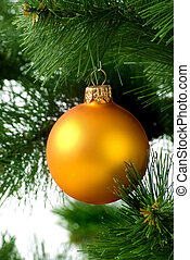 Christmas tree with orange sphere
