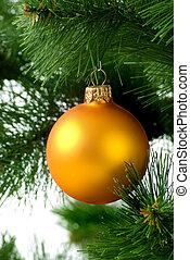 Christmas tree with orange sphere