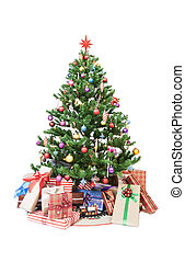 Christmas tree with ornaments and gifts isolated