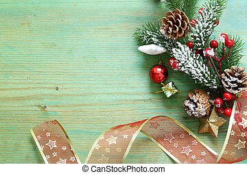Christmas tree with ornaments on a multicolored background
