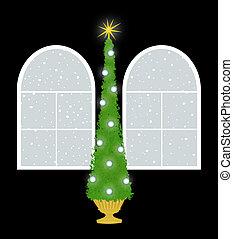 Christmas Tree With Palladian Windows on Black