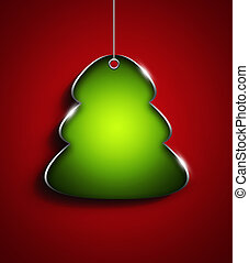 christmas tree with place for text over red  background