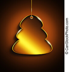 christmas tree with place for text over golden  background