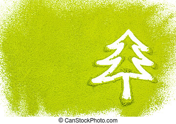 Christmas tree with powdered green tea on white background