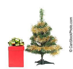 Christmas tree with present box.