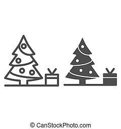 Christmas tree with present line and glyph icon. Fir-tree vector illustration isolated on white. Holidays outline style design, designed for web and app. Eps 10.