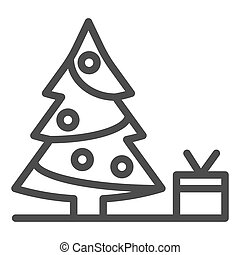 Christmas tree with present line icon. Fir-tree vector illustration isolated on white. Holidays outline style design, designed for web and app. Eps 10.