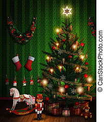 Christmas Tree with Presents and Decoration