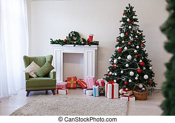Christmas tree with presents and decorations the lights new year Garland