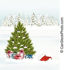Christmas tree with presents background. Vector.