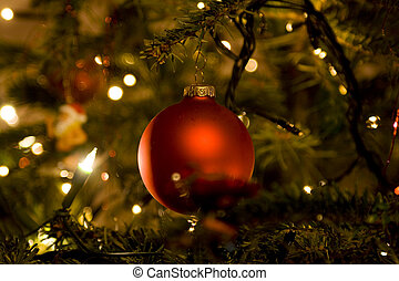 Christmas tree with red ball