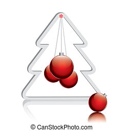Christmas tree with red balls.