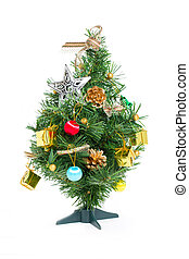 Christmas tree with red ornaments isolated on white.