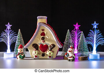 Christmas tree with santa claus and snowman
