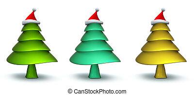 Christmas tree with santa hat