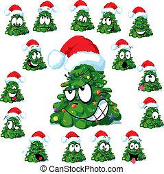 Christmas tree with Santa's cap
