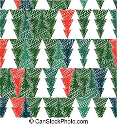 Christmas tree with scetch lines. Vector card. EPS 10