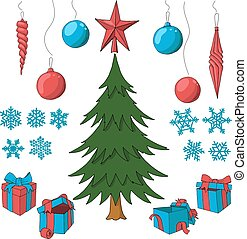 Christmas tree with set of decorative elements