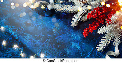 Christmas Tree With Shiny Holiday Lights on Blue Background